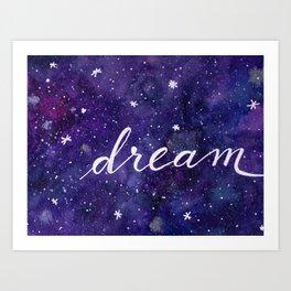 Watercolor galaxy dream - purple Art Print