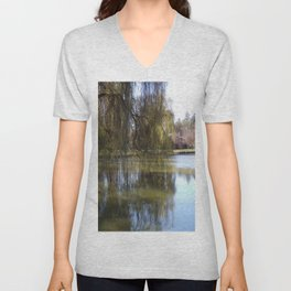 Old Weeping Willow Tree Standing Next To Pond Unisex V-Neck