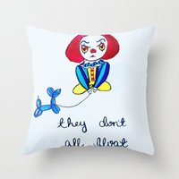 pennywise Throw Pillows featuring Pessimistic Pennywise by Ashley Petersen