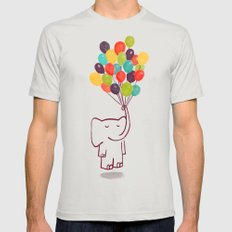 Flying Elephant Silver LARGE Mens Fitted Tee