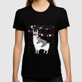 Sloth Riding Llama Funny Sloth 4th of July T-shirt