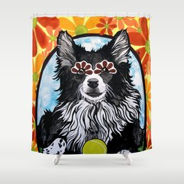 Gizmo the Border Collie Shower Curtain