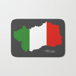 Valle d'Aosta map with Italian national flag illustration Bath Mat