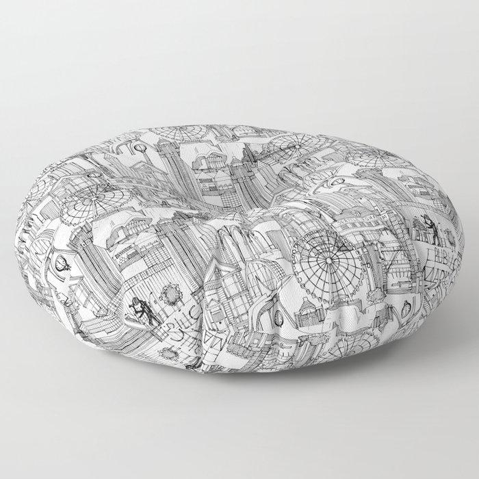 Seattle black white Floor Pillow