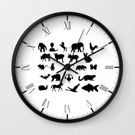 Animals Collection Silhouette Wall Clock