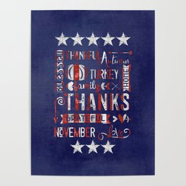 Stars And Stripes Thanksgiving Typography Poster