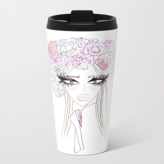 Floral girl Metal Travel Mug