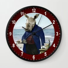 Mr. Rhino's Day at the Beach Wall Clock