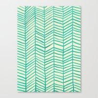 herringbone Canvas Prints featuring Mint Herringbone by Cat Coquillette