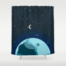 Moon and Planet Shower Curtain