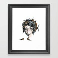 The moth girl Framed Art Print