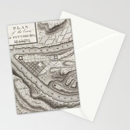 Vintage Map of Pittsburgh PA (1796) Stationery Cards