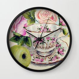 Teacup, Green Apple, and Roses Wall Clock
