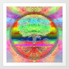 Neon Glow Tree of Life Art Print