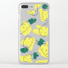 Modern Artsy Yellow Green Watercolor Abstract Pineapples Clear iPhone Case