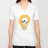 dark souls V-neck T-shirts featuring Drink Souls by Heather LW