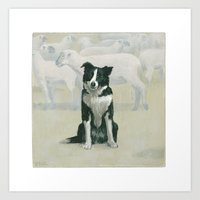 border collie Art Prints featuring border collie by phil art guy