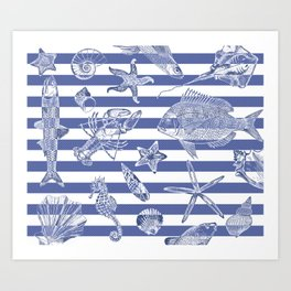 Sea things, blue striped design Art Print