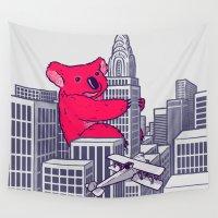 koala Wall Tapestries featuring Koala Kong by Jonah Makes Artstuff