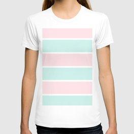 Blush pink teal modern color block pastel stripes T-shirt