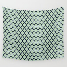 Modern mint green navy blue moroccan quatrefoil Wall Tapestry
