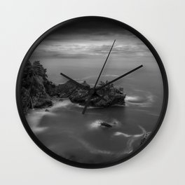 Big Sur, California Pacific Coast Highway coastal beach black and white photograph / art photography Wall Clock