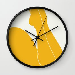 Nude in yellow 3 Wall Clock