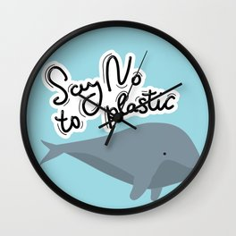 Say no to plastic. Whale, sea, ocean.  Pollution problem concept Eco, ecology banner poster. Wall Clock