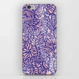 Pink And Blue Jungle Garden iPhone Skin