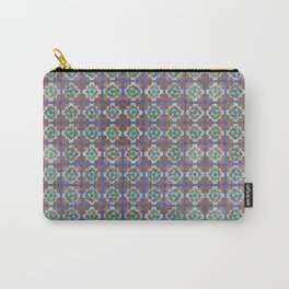 Floral tile Green Violet Carry-All Pouch