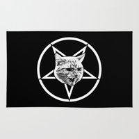 pentagram Area & Throw Rugs featuring Catagram - Cat Face On Pentagram White on Black by MagicCircle