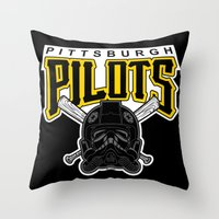 pittsburgh Throw Pillows featuring Pittsburgh Pilots by Ant Atomic