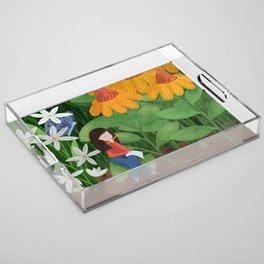 Drawing in he garden Acrylic Tray