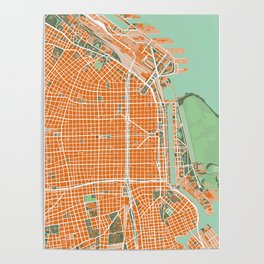 Buenos Aires city map orange Poster