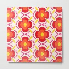 Retro happy bright floral 2 Metal Print