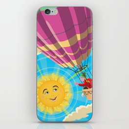 Girl in a balloon greeting a happy sun iPhone Skin