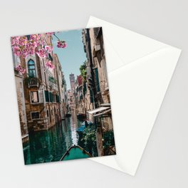 Spring Venice emerald canal with old building  Stationery Cards