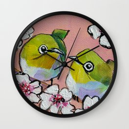 Itty Bitty Birdy Blossoms Wall Clock