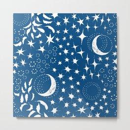 Moon Among the Stars - Classic Blue Metal Print