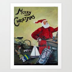 Santa in his Workshop Art Print