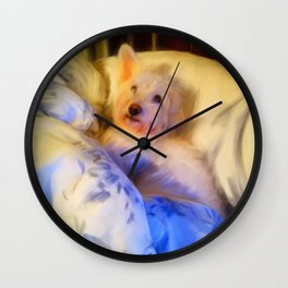 Ivan the Dog Schnoodle in Bed Wall Clock