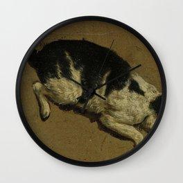 Cat looking down from an elevation, Adriaen van de Velde (attributed to), 1646 - 1672 Wall Clock