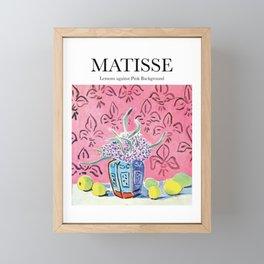 Matisse - Lemons against Pink Background Framed Mini Art Print