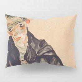 """Egon Schiele """"Selbstbildnis als Halbakt in schwarzer Jacke (Self-portrait in a black jack)"""" Pillow Sham"""