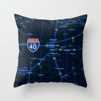 oklahoma Throw Pillows featuring oklahoma map by Larsson Stevensem