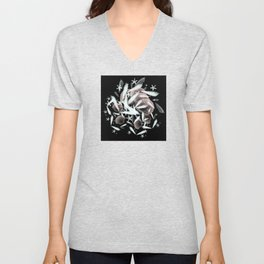 high contrast shells and starfishes Unisex V-Neck