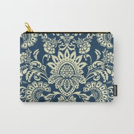 damask in white and blue vintage Carry-All Pouch