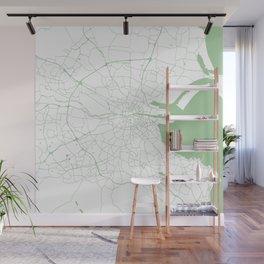 White on Green Dublin Street Map Wall Mural