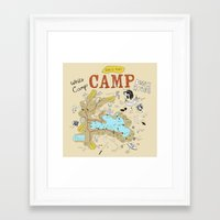 camp Framed Art Prints featuring camp by AJE Custom Shop