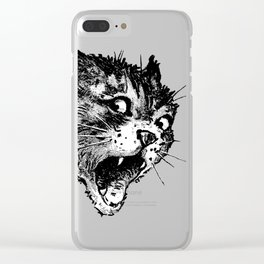Freaky Cat B&W / Late 19th century illustration of very surprised cat Clear iPhone Case
